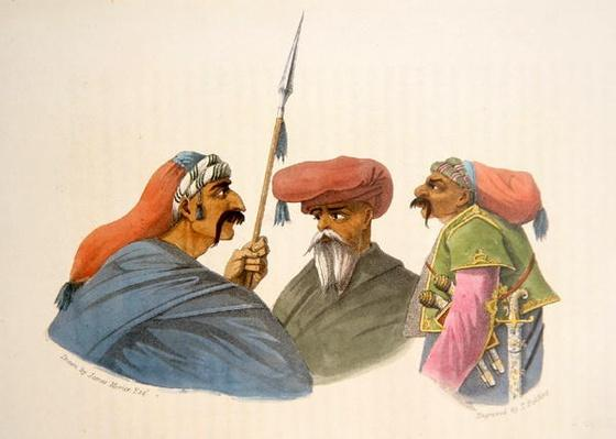Courdish Chiefs from 'A Second Journey through Persia, 1810-16', engraved by Theodore H.A. Fielding