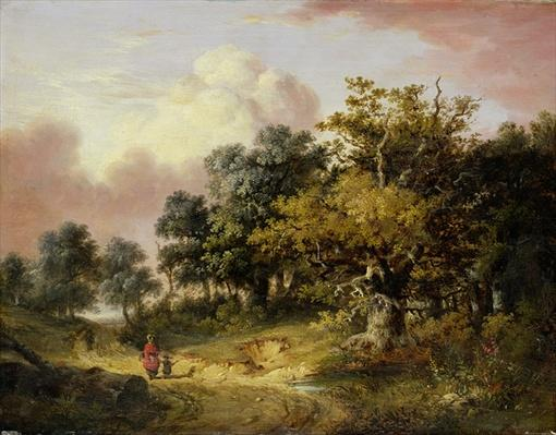 Wooded Landscape with Woman and Child Walking Down a Road