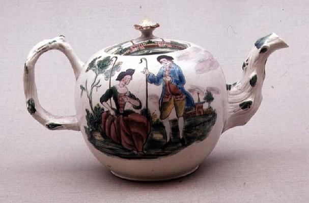 Staffordshire salt-glazed teapot decorated 'en famille rose', c.1770