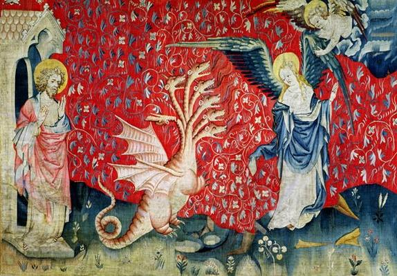 The Woman Receiving Wings to Flee the Dragon, no.37 from 'The Apocalypse of Angers', 1373-87
