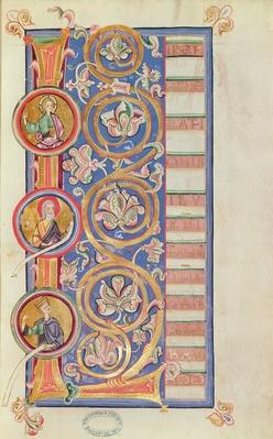 Ms 14 fol.23 Historiated initial 'L' with medallions, from an Evangeliary