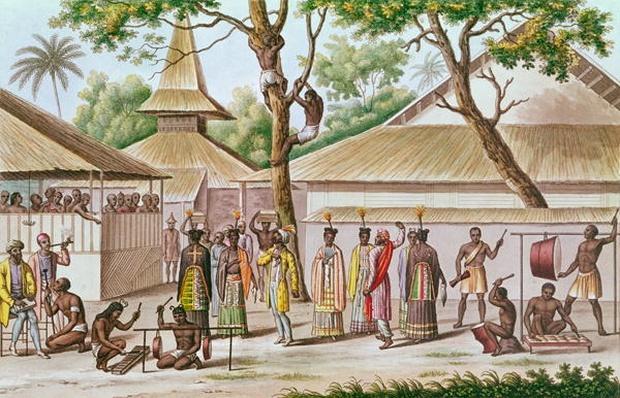 Religious Festival in Caieli, Buru Island, from 'Voyage Autour du Monde sur la Corvette Coquille