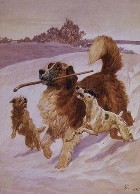 Three dogs playing in the snow, 1881