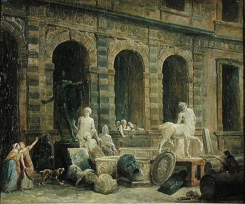 A Man Drawing Antiques in Front of the Petite Galerie of the Louvre, 1781