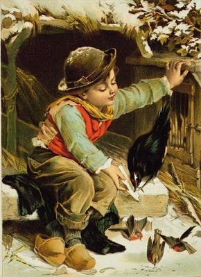 Young Boy with Birds in the Snow