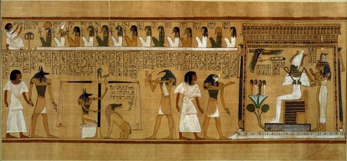 The Weighing of the Heart against Maat's Feather of Truth, from the Book of the Dead of the Royal Scribe Hunefer, New Kingdom, c.1275 BC