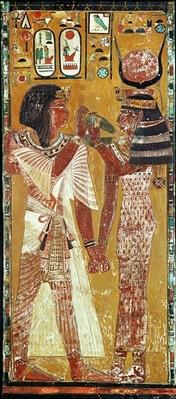 Relief depicting the Goddess Hathor placing the magic collar on Seti I