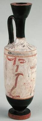 Attic white ground lekythos depicting a young girl presenting a funerary offering, c.420 BC