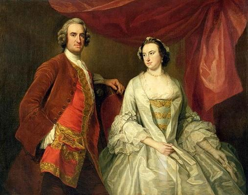 A Man and a Woman, possibly of the Missing Family, of Little Park House, Wickham, Hampshire, 1747