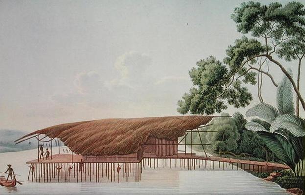 A Dwelling-House over Water, Doreri, Papuan Gulf, from 'Voyage autour du Monde sur la Corvette La Coquille