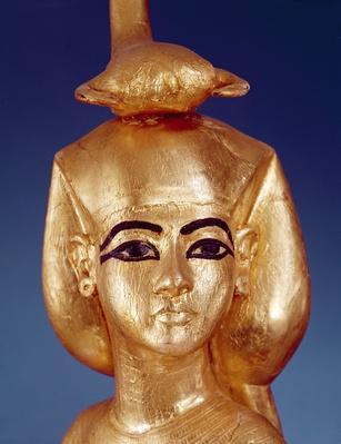 Detail of the goddess Selket from the canopic shrine, from the Tomb of Tutankhamun