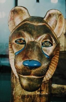 Funerary bedhead in the form of a lion, from the Tomb of Tutankhamun