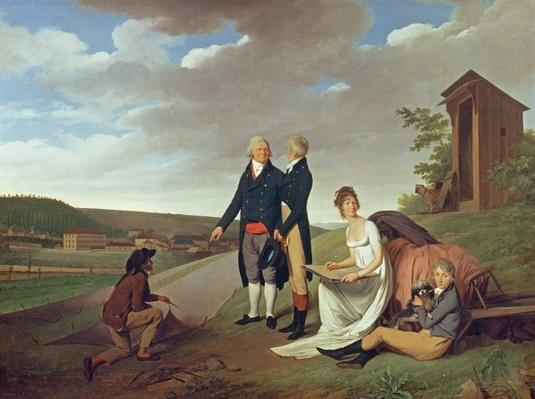 Christophe-Philippe Oberkampf and family in front of his factory at Jouy, 1803