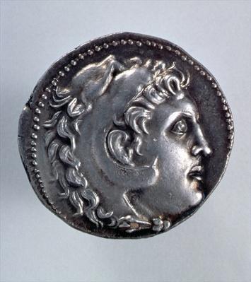 Alexander the Great Tetradrachm showing the head of Herakles wearing a lionskin headdress