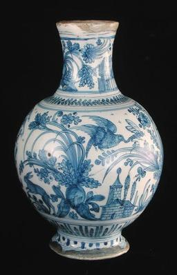 Pharmacy bottle with a blue and white pattern, Savonne Workshop