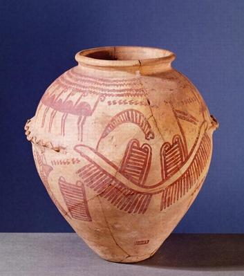 Vase depicting two shrines on a barge, c.3500 BC