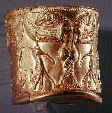 Goblet decorated with mythological creatures, northwestern Iran, c.1200-1100 BC