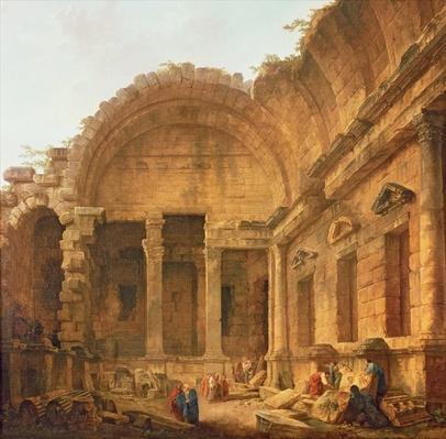 Interior of the Temple of Diana at Nimes, 1787