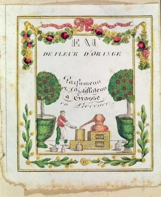 Vignette of 'Eau de Fleur d'Orange', perfumers and distillers in Grasse