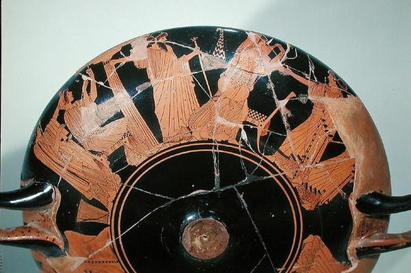 Attic red-figure cup depicting the return of Paris to Priam surrounded by Cassandra, Polyxena, Hecuba and Aphrodite, from Vulci, c.495 BC