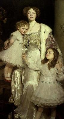 Portrait of Mrs. Alfred Mond, later Lady Melchett, and her two daughters, Mary and Nora