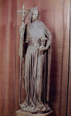 Allegorical figure of the church holding a chalice and the labarum, c.1230