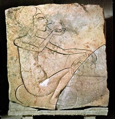 Relief depicing a princess eating a roasted duck, from the North Palace at Tell El-Amarna, New Kingdom, c.1353-1337 BC