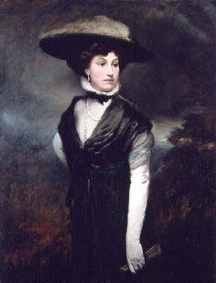 Portrait of a lady wearing a feathered hat and holding a fan