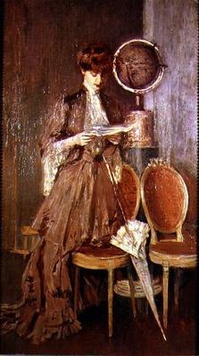 Portrait of Mme Helleu reading a letter