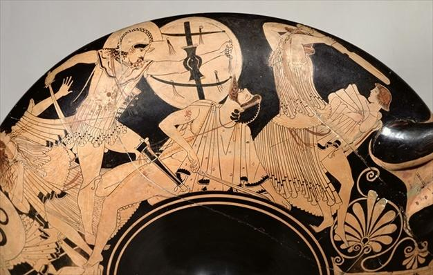 Attic red-figure cup depicting scenes from the Trojan War, c.490 BC