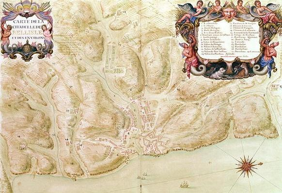 Ms 988 volume 3 fol.33 Map of the town and citadel of Bellisle, from the 'Atlas Louis XIV', 1683-88