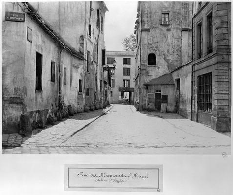 Rue des Marmousets Saint-Marcel, from rue Saint-Hippolyte, Paris, 1858-78