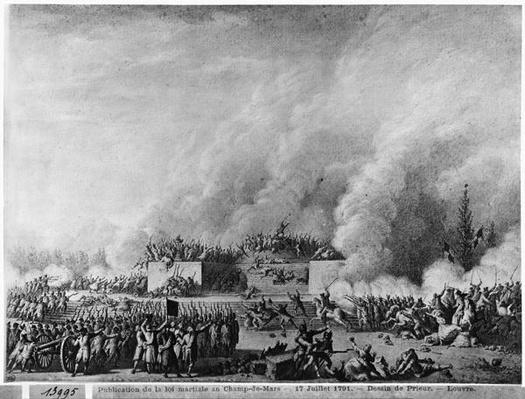 Publishing the martial law at the Champs-de-Mars, Paris, 17th July 1791