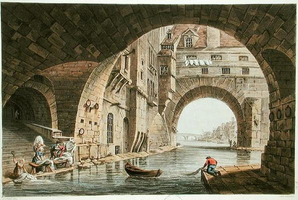 The Washing Place of the Hotel-Dieu and the Pont de la Tournelle, engraved by I. Hill, 1810
