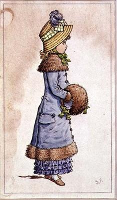 Sunday Best - young girl in blue, 19th century 9colour lithograph)