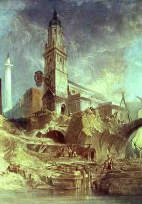 Demolishing Old London Bridge, with St. Magnus the Martyr behind