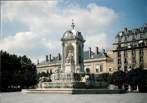 View of the Fontaine des Quatre-Eveques, Place Saint-Sulpice, built in 1844