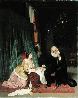 Visit of the doctor, 1859