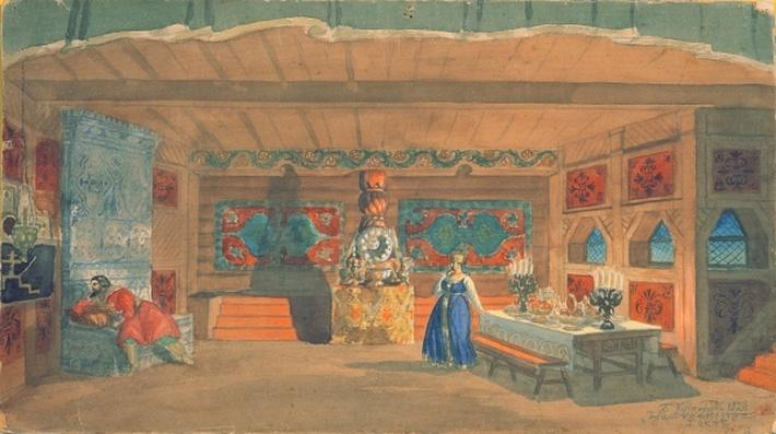Stage design for Rimsky-Korsakov's opera the 'The Tsar's bride', 1920