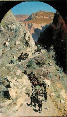 Artillery in the Caucasian mountains, 1883