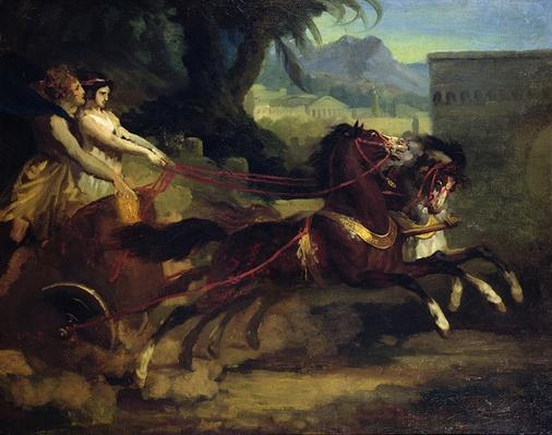 Ancient Chariot Race, after a painting by Carle Vernet