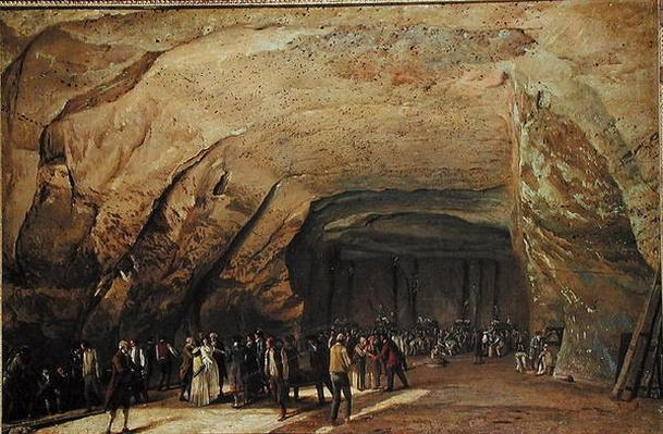 Entrance and Interior of a Cave used as a Warehouse for Salt in Dieppedalle, c.1798
