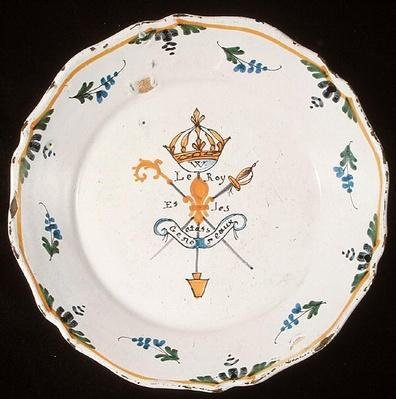 Plate with the inscription 'Le Roi et les Etats Generaux' with emblems of the Three Orders and the king, 1789
