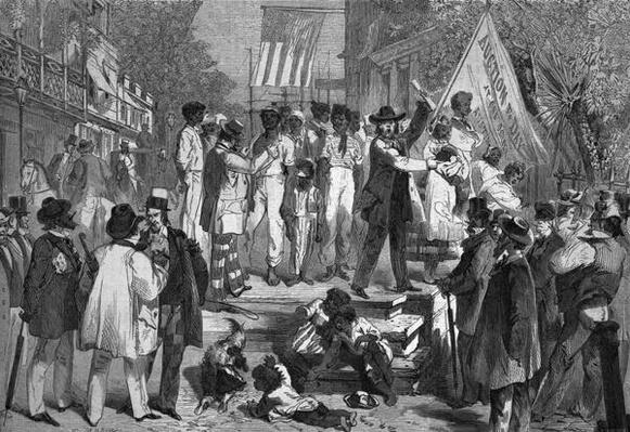 A Slave Auction in Richmond, from 'Le Globe Illustre', 1862