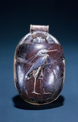Scarab with Heron, from Tomb of Tutankhamun , New Kingdom