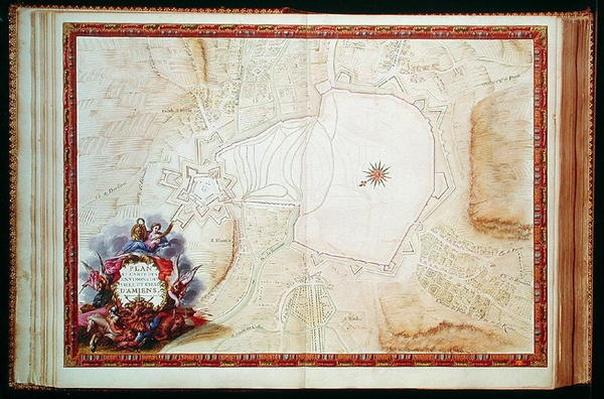 Ms. 988, Vol.3 fol.7 Plan and Map of the town, citadel and surroundings of Amiens, from the 'Atlas Louis XIV', 1683-88