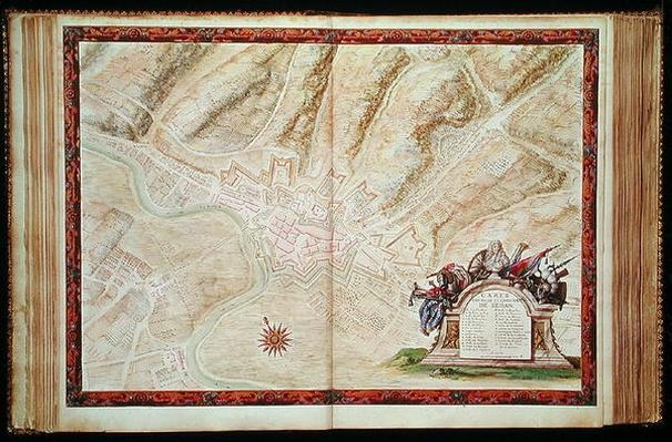 Ms. 988, Vol.3 fol.16 Plan and Map of the town and castle of Sedan, from the 'Atlas Louis XIV', 1683-88