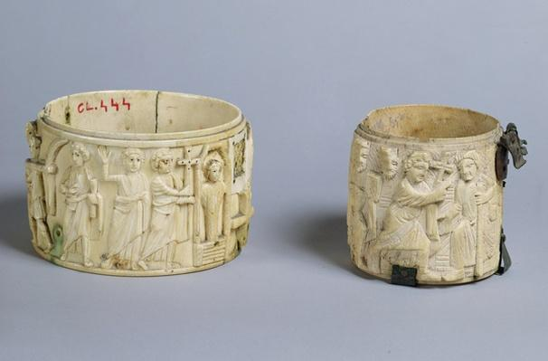 Two pyx with reliefs depicting the resurrection of Lazarus and Christ healing a man born blind, 6th-7th century