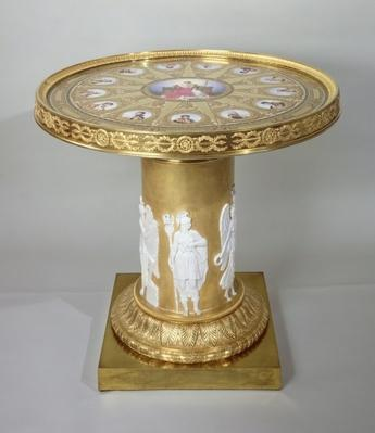 The Austerlitz Table, inlaid with Sevres plaques commemorating Napoleon's victory at Austerlitz, 1808-10