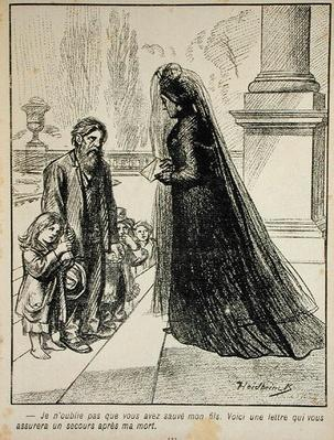 'I will not forget that you saved my son. Here is a letter insuring you will be taken care of after my death.', from 'l'Assiette au Beurre', 1901